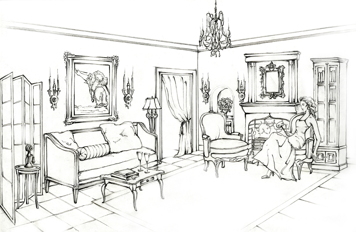 Drawings for Drawing room interior